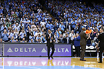 28 December 2016: Former UNC player and current Monmouth head coach King Rice is given a standing ovation when he introduced before the game. The University of North Carolina Tar Heels hosted the Monmouth University Hawks at the Dean E. Smith Center in Chapel Hill, North Carolina in a 2016-17 NCAA Division I Men's Basketball game. UNC won the game 102-74.
