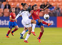 HOUSTON, TX - JANUARY 28: Maria Guevara #7 of Panama fights for the ball with Shirley Cruz #10 of Costa Rica during a game between Costa Rica and Panama at BBVA Stadium on January 28, 2020 in Houston, Texas.