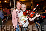 Stephanie Ambrose with her violin standing with Trish O'Halloran from Athea at the Kerry School of Music concert in the Rose Hotel on Sunday