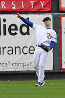 Josh Vitters #1 of the Iowa Cubs throws back to the infield  against the Omaha Storm Chasers at Principal Park on May 1, 2014 in Des Moines, Iowa. The Cubs  beat Storm Chasers 1-0.   (Dennis Hubbard/Four Seam Images)