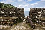 Fort San Geronimo, first built in 1664 and rebuilt in 1739.  Portobelo Bay was named by Christopher Columbus in 1502.  The town was founded in 1597 as a shipping point for Spanish treasure.  The harbor was protected by five Spanish forts.  A UNESCO World Heritage Site.