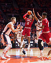 Jan 24, 2018; Champaign, IL, USA; Indiana Hoosiers guard Devonte Green (11) shoots defended by Illinois Fighting Illini forward Michael Finke (43) during the second half at State Farm Center. Mandatory Credit: Mike Granse-USA TODAY Sports