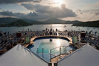 Early morning looking over the swimming pool on cruise ship, at Charlotte Amalie, U.S. Virgin Islands.