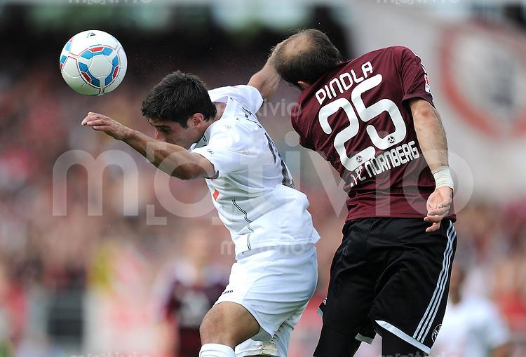 FUSSBALL   1. BUNDESLIGA  SAISON 2011/2012   2. Spieltag 1 FC Nuernberg - Hannover 96          13.08.2011 Lars Stindl (li, Hannover 96) gegen Javier Pinola  (re, 1 FC Nuernberg)