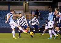 Garry Thompson of Wycombe Wanderers scores to make it 2-1 during the Checkatrade Trophy round two Southern Section match between Millwall and Wycombe Wanderers at The Den, London, England on the 7th December 2016. Photo by Liam McAvoy.