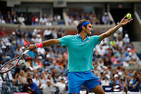 Roger Federer of Switzerland serves to Marin Cilic of Croatia  during men semifinal match at the US Open 2014 tennis tournament in the USTA Billie Jean King National Center, New York.  09.05.2014. VIEWpress