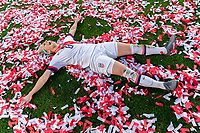 CARSON, CA - FEBRUARY 9: Julie Ertz #8 of the United States celebrates during a game between Canada and USWNT at Dignity Health Sports Park on February 9, 2020 in Carson, California.