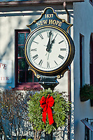 Town clock at Christmas, New Hope, Pennsylvania, USA