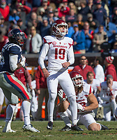 Hawgs Illustrated/BEN GOFF <br /> Connor Limpert, Arkansas kicker, with Reid Miller holding, kicks a field goal late in the fourth quarter to defeat Ole Miss Saturday, Oct. 28, 2017, at Vaught-Hemingway Stadium in Oxford, Miss.