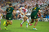 2nd December 2017, Brisbane, Australia;  England attacking during the Rugby League World Cup Mens Final match between Australia and England at Brisbane Stadium, Brisbane, Australia