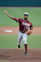 Florida State Seminoles designated hitter / relief pitcher Jameis Winston (44) delivers a pitch during a game against the South Florida Bulls on March 5, 2014 at Red McEwen Field in Tampa, Florida.  Florida State defeated South Florida 4-1.  (Mike Janes/Four Seam Images)
