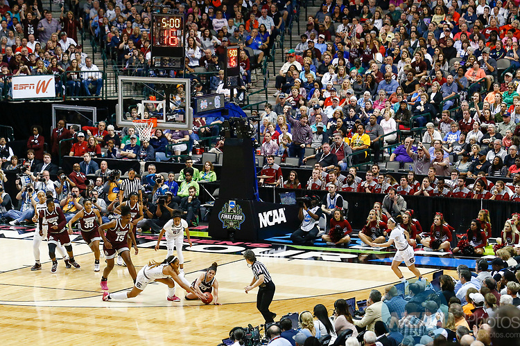 DALLAS, TX - APRIL 2: Jazzmun Holmes #10 of the Mississippi State Lady Bulldogs and A'ja Wilson #22 of the South Carolina Gamecocks dive for a loose ball during the 2017 Women's Final Four at American Airlines Center on April 2, 2017 in Dallas, Texas. (Photo by Timothy Nwachukwu/NCAA Photos via Getty Images)