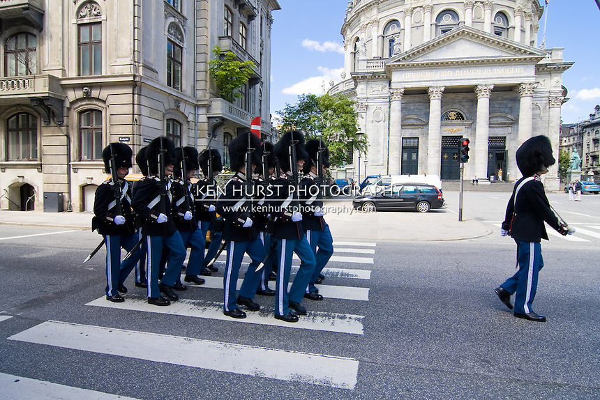 Danish Royal Life Guards (Den Kongelige Livgarde) on parade in Copenhagen, Denmark.