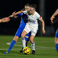 20190823 - OUD HEVERLEE BELGIUM : OHL's Noa Corbeels and KRC Genk's Riete Loos is pictured during the female soccer game between the OHL Ladies vs KRC Genk Ladies, the first game for both teams in the Belgian Women's Super League , Friday 23rd  August 2019 at the OHL Jeugdcomplex , Belgium . PHOTO SPORTPIX.BE | SEVIL OKTEM