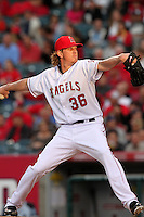 Los Angeles Angels Jered Weaver #36 pitches against the Tampa Bay Rays at Angel Stadium on June 18, 2011 in Anaheim,California. (Larry Goren/Four Seam Images)