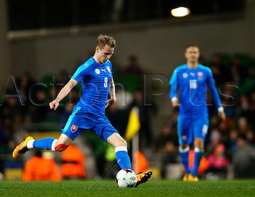 29.03.2016. Aviva Stadium, Dublin, Ireland. International Football Friendly Rep. of Ireland versus Slovakia. <br /> Andrej Duda (Slovakia) passes the ball out.