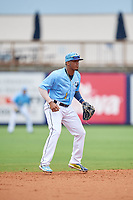Charlotte Stone Crabs Wander Franco (1) during a Florida State League game against the Bradenton Maruaders on August 7, 2019 at Charlotte Sports Park in Port Charlotte, Florida.  Charlotte defeated Bradenton 2-0 in the first game of a doubleheader.  (Mike Janes/Four Seam Images)