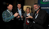 drinks reception, Oil and Gas Decommissioning Conference, Dunblane Hydro - l to r - Neil Knowles, Barry MacLeod, Lynda Reilly, and Brian McKinstray - 6.10.10 - picture by Donald MacLeod - mobile 07702 319 738 - clanmacleod@btinternet.com - www.donald-macleod.com