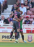 Leeds United's Stuart Dallas celebrates scoring the opening goal with team-mate Jamie Shackleton<br /> <br /> Photographer Stephen White/CameraSport<br /> <br /> The Premier League - Stoke City v Leeds United - Saturday August 24th 2019 - bet365 Stadium - Stoke-on-Trent<br /> <br /> World Copyright © 2019 CameraSport. All rights reserved. 43 Linden Ave. Countesthorpe. Leicester. England. LE8 5PG - Tel: +44 (0) 116 277 4147 - admin@camerasport.com - www.camerasport.com