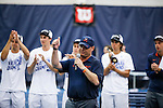 24 MAY 2016:  Virginia head coach Brian Boland speaks to the crowd after his team defeated Oklahoma. The Division I Men's Tennis Championship is held at the Michael D. Case Tennis Center on the University of Tulsa campus in Tulsa, OK.  Virginia defeated Oklahoma for the national championship. Shane Bevel/NCAA Photos