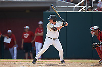 Matt Hudgins (5) of the Army Black Knights at bat against the North Carolina State Wolfpack at Doak Field at Dail Park on June 3, 2018 in Raleigh, North Carolina. The Wolfpack defeated the Black Knights 11-1. (Brian Westerholt/Four Seam Images)