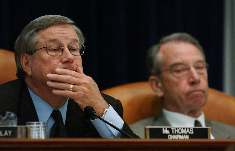 10/05/04.CORPORATE TAX STRUCTURE--Conference Chair/House Ways and Means Chairman Bill Thomas, R-Calif., and Conference Vice Chair/Senate Finance Chairman Charles E. Grassley, R-Iowa,  during the meeting of House and Senate conferees to consider the Jumpstart Our Business Strength (JOBS) Act, which would revise the corporate tax structure. .CONGRESSIONAL QUARTERLY PHOTO BY SCOTT J. FERRELL