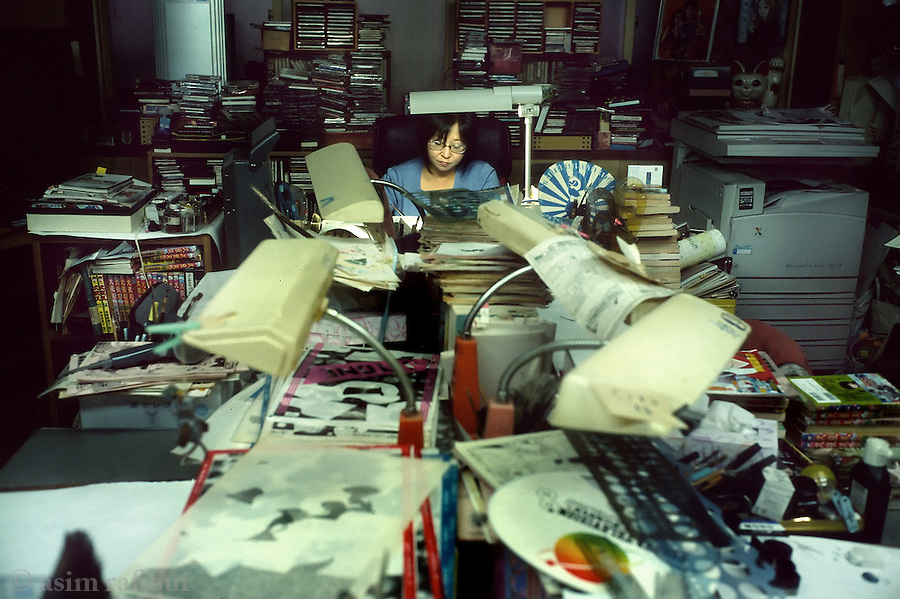 Rumiko Takahasi, one of the most popular female manga artist, in her studio in tokyo, japan.  women manga is a separate and distinct market, complete with independent outlets and artists.