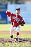 Batavia Muckdogs pitcher Steven Farnsworth (31) delivers a pitch during a game against the State College Spikes on June 22, 2014 at Dwyer Stadium in Batavia, New York.  State College defeated Batavia 10-3.  (Mike Janes/Four Seam Images)