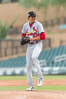 Surprise Saguaros relief pitcher Conner Greene (90), of the St. Louis Cardinals organization, gets ready to deliver a pitch during an Arizona Fall League game against the Salt River Rafters at Salt River Fields at Talking Stick on October 23, 2018 in Scottsdale, Arizona. Salt River defeated Surprise 7-5 . (Zachary Lucy/Four Seam Images)