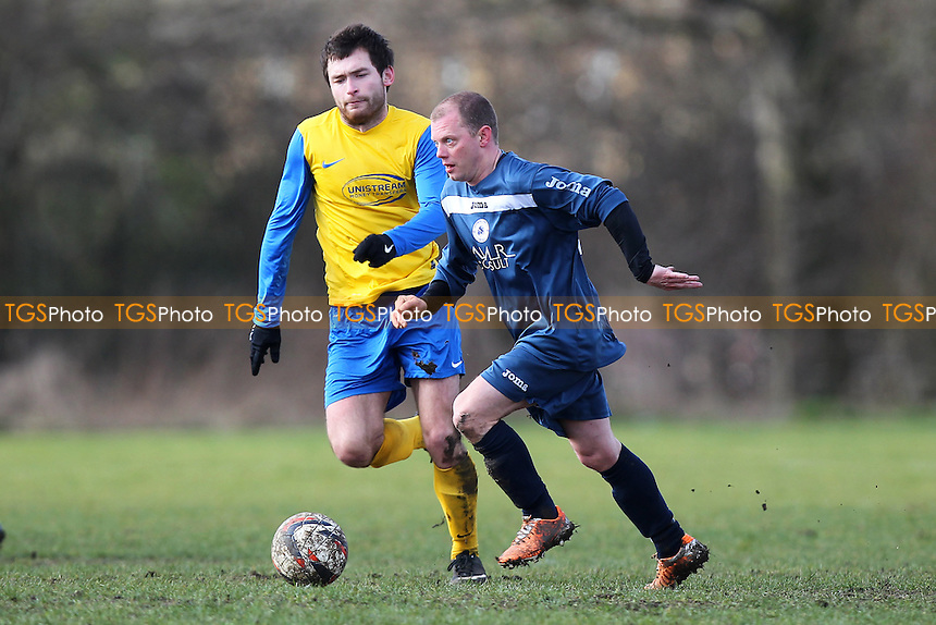 Niva-Unistream (yellow/blue) vs Wounded Knee - Hackney & Leyton Sunday League Dickie Davies Cup Football at South Marsh, Hackney Marshes, London - 01/03/15 - MANDATORY CREDIT: Gavin Ellis/TGSPHOTO - Self billing applies where appropriate - 0845 094 6026 - contact@tgsphoto.co.uk - NO UNPAID USE