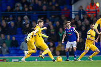 Paul Gallagher of Preston North End fires in the free kick and equalising goal during Ipswich Town vs Preston North End, Sky Bet EFL Championship Football at Portman Road on 3rd November 2018