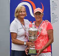 Etten-Leur, The Netherlands, August 23, 2016,  TC Etten, NVK, Winners lady's doubles 60+ : Anneke Jelsma-De Jong (L) and Ria van der Meijden<br /> Photo: Tennisimages/Henk Koster