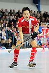 Mannheim, Germany, January 24: During the 1. Bundesliga Herren Hallensaison 2014/15 quarter-final hockey match between Mannheimer HC (white) and Club an der Alster (red) on January 24, 2015 at Irma-Roechling-Halle in Mannheim, Germany. Final score 2-3 (1-2). (Photo by Dirk Markgraf / www.265-images.com) *** Local caption *** Danny Nguyen #21 of Club an der Alster