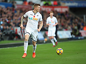 4th November 2017, Liberty Stadium, Swansea, Wales; EPL Premier League football, Swansea City versus Brighton and Hove Albion; Alfie Mawson of Swansea City looks to play the ball