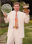 Paul Gascoigne resplendent in a pink suit picking up his Players Player of the Year and Football writers player of the year award at the Hilton Hotel, Glasgow in 1996