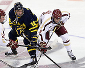 Justin Hussar (Merrimack - 18), Brendan Silk (BC - 9) - The Boston College Eagles defeated the visiting Merrimack College Warriors 4-3 on Friday, November 16, 2012, at Kelley Rink in Conte Forum in Chestnut Hill, Massachusetts.