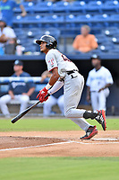 Hickory Crawdads center fielder Bubba Thompson (25) swings at a pitch during a game against the Asheville Tourists at McCormick Field on August 17, 2018 in Asheville, North Carolina. The Tourists defeated the Crawdads 6-3. (Tony Farlow/Four Seam Images)