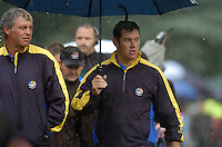 Ryder Cup K Club Straffin Co Kildare..European Ryder Cup Team players Darren Clarke and teammate Lee Westwood on the 17th fairway during the morning fourball session of the second day of the 2006 Ryder Cup at the K Club in Straffan, County Kildare, in the Republic of Ireland, 23 September, 2006..Photo: Barry Cronin/ Newsfile.