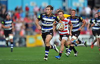 Max Clark of Bath Rugby runs in a try. West Country Challenge Cup match, between Gloucester Rugby and Bath Rugby on September 13, 2015 at the Memorial Stadium in Bristol, England. Photo by: Patrick Khachfe / Onside Images