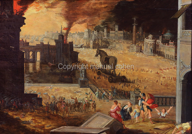 The Burning of Troy, oil painting on canvas, 1600-07, by Pieter Schoubroeck, c. 1570-1607, in the Musee des Beaux-Arts de la Ville de Blois, housed since 1869 on the first floor of the Louis XII wing of the Chateau Royal de Blois, built 13th - 17th century in Blois in the Loire Valley, Loir-et-Cher, Centre, France. The museum originally opened in 1850 in the Francois I wing, but moved here in 1869 after the rooms had been restored by Felix Duban in 1861-66. The chateau has 564 rooms and 75 staircases and is listed as a historic monument and UNESCO World Heritage Site. Picture by Manuel Cohen