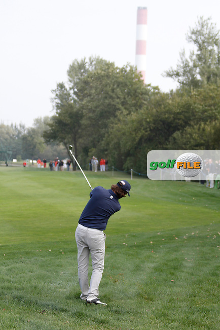 Martin Wiegele (AUT) plays his 2nd shot from the rough on the 1st hole during Thursday's Round 1 of the Austrian Open presented by Lyoness at the Diamond Country Club, Atzenbrugg, Austria, 22nd September 2011 (Photo Eoin Clarke/www.golffile.ie)