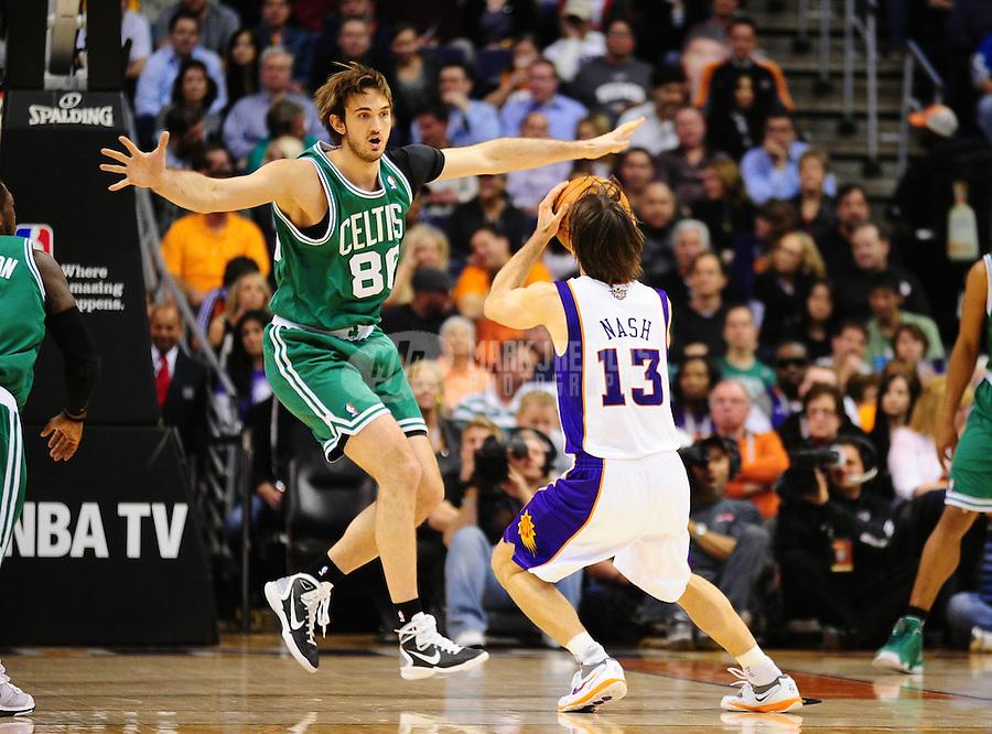 Jan. 28, 2011; Phoenix, AZ, USA; Boston Celtics center (86) Semih Erden defends Phoenix Suns guard (13) Steve Nash at the US Airways Center. Mandatory Credit: Mark J. Rebilas-
