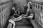 Snowdown Colliery Snowdown, Kent. 1976   Locker room. Britain 1970s. Uk<br /> <br /> 16x12 PARIS 2015 LES DOUCHES LA GALERIE <br /> <br /> THIS ARE MEDIUM RES FILES ONLY FOR REFERENCE AND SHOULD NOT BE SENT OUT THEY OPEN AT 11MGB