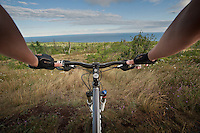 Point of view photography of mountain bike riding on the trails of Brockway Mountain in Copper Harbor Michigan.
