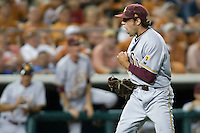Arizona State Sun Devil pitcher Mitchell Lambson #40 celebrates after closing out the game against the Texas Longhorns in NCAA Tournament Super Regional baseball on June 10, 2011 at Disch Falk Field in Austin, Texas. (Photo by Andrew Woolley / Four Seam Images)
