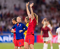 LYON,  - JULY 2: Sam Mewis #3 salutes the crowd during a game between England and USWNT at Stade de Lyon on July 2, 2019 in Lyon, France.