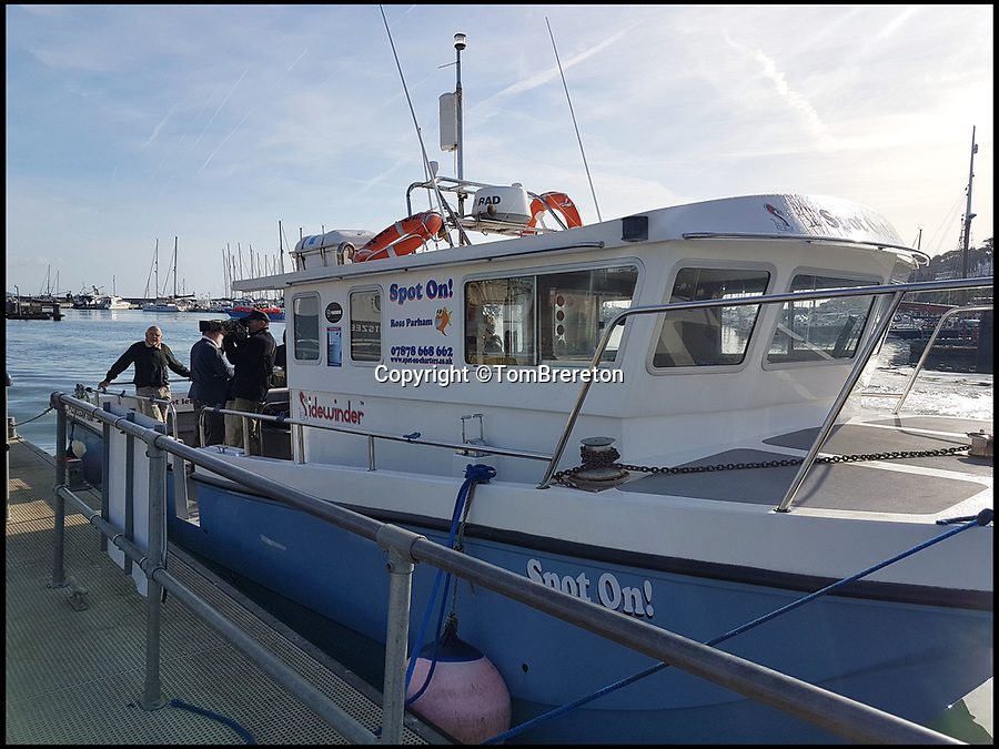 BNPS.co.uk (01202 558833)Pic: TomBrereton/BNPS<br /> <br /> The hugely-rare sight was witnessed by a group of 10 nature lovers on this charter boat.<br /> <br /> This is the incredible moment a huge shark stunned sightseers by leaping clear of the water off the south coast of England.<br /> <br /> The deadly thresher shark jumped vertically through the air before slapping its elongated tail on the surface of the sea.<br /> <br /> Thresher sharks are usually found in the warmer waters of the mid-Atlantic but this 15ft long predator, which weighed about 350lbs, appeared in Lyme Bay.<br /> <br /> The hugely-rare sight was witnessed by a group of 10 nature lovers on a charter boat looking for dolphins 25 miles east of Prawle Point, Devon.