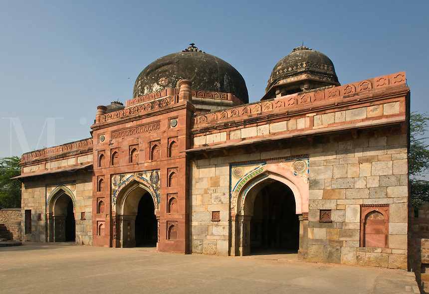 The TOMB of ISA KHAN on the grounds of HUMAYUN'S TOMB is a fine example of LODI architechture - NEW DELHI, INDIA