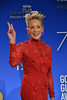 Sharon Stone at the nominations announcement for the 75th Annual Golden Globe Awards at The Beverly Hilton Hotel, Beverly Hills, USA 11 Dec. 2017<br /> Picture: Paul Smith/Featureflash/SilverHub 0208 004 5359 sales@silverhubmedia.com