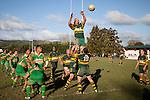 Jamie Chipman gets lifted high by Graham Dewes & Robert Agnew to claim un contested lineout ball. Counties Manukau Premier Club rugby game between Drury & Pukekohe played at the Drury Domain on Saturday May 23rd 2009..Pukekohe won the game 23 - 11 after laeding 16 - 11 at halftime.